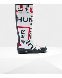HUNTER - Original Exploded Logo Tall Wellington Boots - Lyst