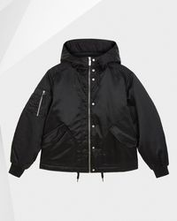 HUNTER Refined Insulated Drawstring Bomber Jacket - Black