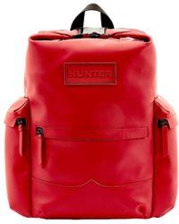 HUNTER Original Rucksack Aus Gummiertem Leder, Mit Klippverschluss - Rot