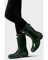 HUNTER Original Short Gloss Wellington Boots - Green