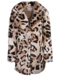 Vila Vimondana Animal Faux Fur Coat - Multicolour