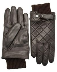 Barbour Quilted Leather Gloves - Brown