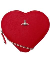 Vivienne Westwood New Heart Saffiano Crossbody Bag - Red