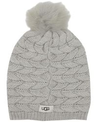 UGG Cable Light Grey Wool Mix Pom Hat - Gray