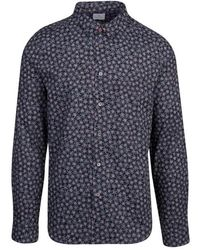 PS by Paul Smith Small Floral Print Slim Fit L/s Shirt - Black