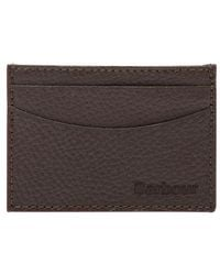 Barbour Grain Leather Card Holder - Brown