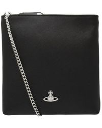 Vivienne Westwood Victoria Saffiano Crossbody Bag With Ch - Black