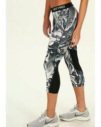 Nike Mallas 3/4 Coral Print - Azul
