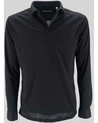 Daniele Alessandrini Long Sleeve Polo Shirt - Black