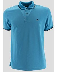 Peuterey Fluo Piquet Polo Shirt With Graphic Details - Blue