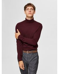 SELECTED High Neck Sweater - Red
