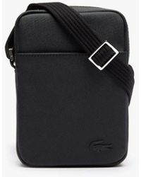 Lacoste Classic Vertical Pouch With Zip In Solid Colour Petit Piqué - Black