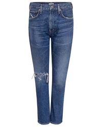 Citizens of Humanity - Dree Distressed Straight-leg Cropped Jeans - Lyst