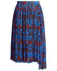 51113a3b53 KENZO - Flying Phoenix Silk Pleated Crepe Asymmetric Midi Skirt - Lyst