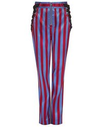 Self-Portrait - Candy Stripe Side Lace-up Satin High-rise Pants - Lyst
