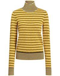 Carven Merino Wool Honeycomb Jacquard Striped Turtleneck Sweater - Yellow