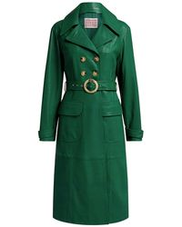 ALEXACHUNG Fitted Knee Length Leather Coat - Green