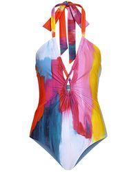 Mara Hoffman Aya Brushstroke-print Halter One-piece Swimsuit - Pink