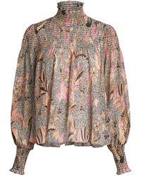 Ulla Johnson Dune High Neck Bird Of Paradise Printed Blouse - Pink