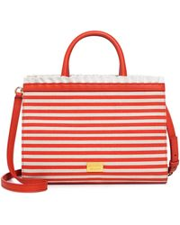 Boutique Moschino Striped Ruffle Satchel - Red