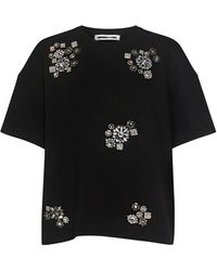 McQ Crystal-embellished French Cotton-terry Top Black