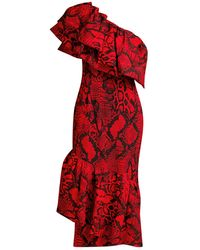 Solace London Heppy One-shoulder Ruffled Snake Print Midi Dress - Red