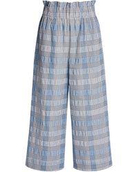 Ganni Seersucker Check Wide-leg Cropped Pants - Blue