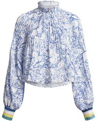 Tibi Floral Pleated Cropped Blouse - Blue