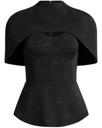 Brandon Maxwell Cape-effect Embroidered Dotted Cady Bustier Top - Black