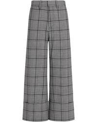 Sea Bacall Plaid Cuffed Crop Pants - Gray