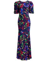 Saloni Annie-b Floral Side Slit Silk Maxi Dress - Blue