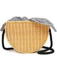 Kayu Dylan Half Moon Wicker Woven Striped Cross Body Bag - Multicolor