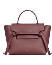 Celine Micro Belt Bag In Grained Calfskin - Purple