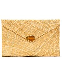 Kayu Capri Straw Envelope Clutch Bag - Natural