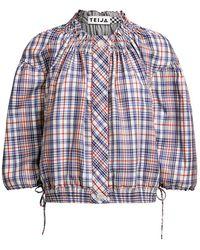 Teija Takki Blousy Cropped Jacket - Blue