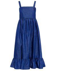 Co. Ruffled Denim Dress - Blue