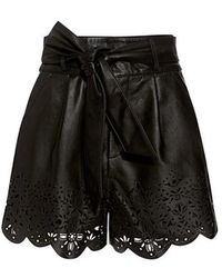 Marissa Webb - Jane High-rise Belted Leather Shorts - Lyst