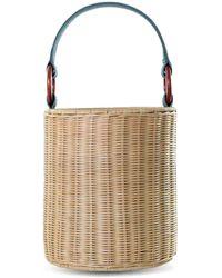 Kayu Reta Wicker Bucket Handbag - Green