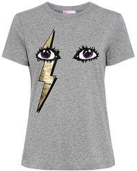 RED Valentino - Metallic Lightning Bolt Eye Graphic T-shirt - Lyst