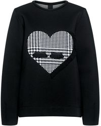 Mother Of Pearl Edith Heart Bonded Sweatshirt - Black