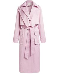 Tibi Duchesse Tech Satin Trench Coat - Pink