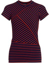 Rachel Comey Patch Cut Sleeve Stripe Fitted Tee - Multicolor