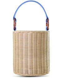 Kayu Reta Wicker Bucket Handbag - Multicolor