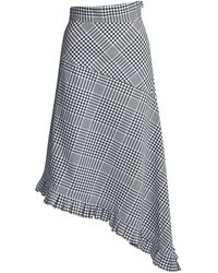 Teija Clarendon Plaid Asymmetric Ruffled Midi Skirt - Multicolor