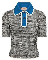 N°21 Color-block Polo Knit Top - Multicolor