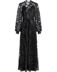 Alexis Biata V-neck Floral Beaded Front Slit Maxi Dress - Black