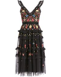 Needle & Thread Pandora Ruffled V-neck Floral Embroidered Knee Length Dress - Black