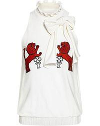 Stella Jean Lion Animal-print Bow Tie High-neck Ruffled Top - White