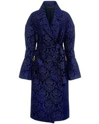 Mother Of Pearl   Jesse Pearl Bell Sleeve Velvet Embroidery Wrap Midi Coat   Lyst