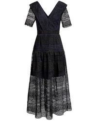 Self-Portrait Spiral Lace Midi Dress - Black